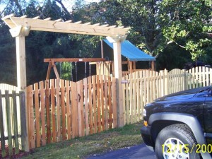 1 x 4 x 5 Picket Fence with custom made arbor