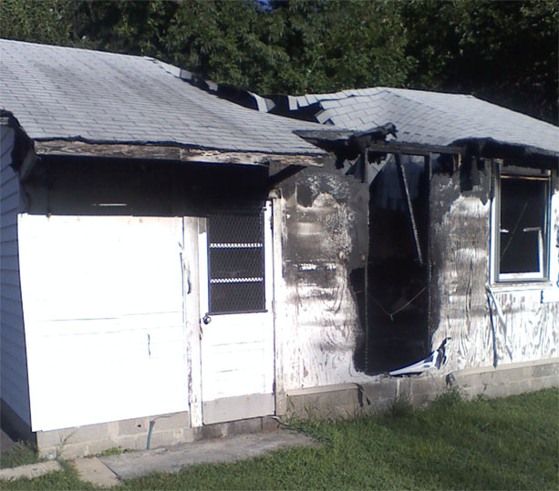 Restoring a detached garage gutted by fire - Before Picture