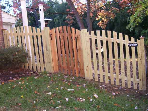 Arched picket fence with arched gate
