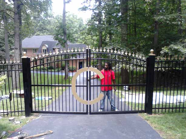 Custom steel gate with gold topper