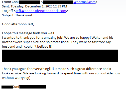 Feedback email received from the customer